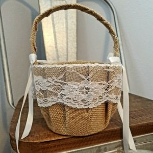 Burlap & Lace Flower Girl Basket